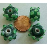 Perles verre Lampwork VERT picots VERT CLAIR 14mm par 4 pcs