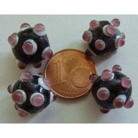 Perles verre Lampwork NOIR picots VIOLET 10x14mm par 4 pcs