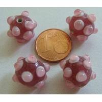 Perles verre Lampwork ROSE picots ROSE CLAIR 10x14mm par 4 pcs