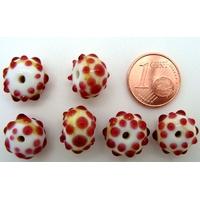 Perles verre Lampwork BLANC picots ROUGE 8x13mm par 6 pcs