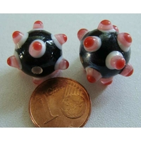 Perles verre Lampwork NOIR picots blanc rose rouge 12x15mm par 2 pcs