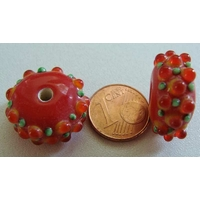 Perle verre Lampwork ROUGE picots orange-rouge vert 10x20mm par 1 pc