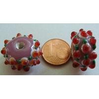 Perle verre Lampwork VIOLET picots blanc orange rouge et vert 11x17mm par 1 pc