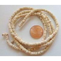 Perles Bois COCO rondelles 3mm CREME par 1 fil 60 cm