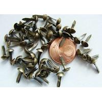 Brads Attaches Parisiennes métal couleur bronze 10x5mm par 50 pcs
