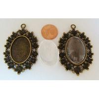 Perles Métal Bronze Pendentif support cabochon avec cabochon verre 40mm par 1 pc