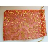 Pochettes Organza 14x19cm ROUGE + motifs dores par 5 pcs