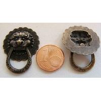 Poignées Heurtoir ronde 23mm métal couleur bronze Tete de Lion par 2 pcs