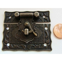 Fermoir Fermeture (2 pièces) Carré 51mm métal couleur bronze par 1 pc