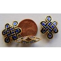 Perles Noeuds métal Cloisonnés 15x20mm NOIR BLEU FONCE par 2 pcs