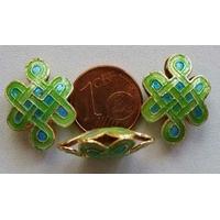 Perles Noeuds métal Cloisonnés 15x20mm VERT BLEU par 2 pcs