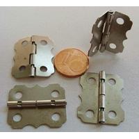 Charnières métal couleur Argenté Acier moyennes 24x20mm par 4 pcs