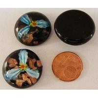 Cabochon verre Lampwork rond 20mm Fleurs 3 pétales Bleu Clair par 1 pc