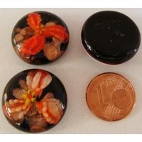 Cabochon verre Lampwork rond 20mm Fleurs 3 pétales Orange par 1 pc