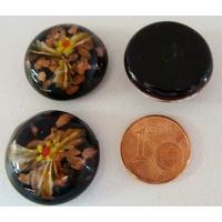 Cabochon verre Lampwork rond 20mm Fleurs 3 pétales Jaune par 1 pc