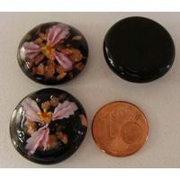 Cabochon verre Lampwork rond 20mm Fleurs 3 pétales Rose par 1 pc