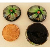 Cabochon verre Lampwork rond 18mm Fleurs 6 pétales VERT par 1 pc