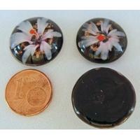 Cabochon verre Lampwork rond 18mm Fleurs 6 pétales Bleuté par 1 pc