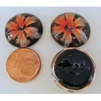Cabochon verre Lampwork rond 18mm Fleurs 6 pétales Orange par 1 pc