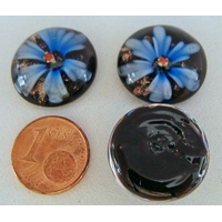 Cabochon verre Lampwork rond 18mm Fleurs 6 pétales Bleu Fonce par 1 pc