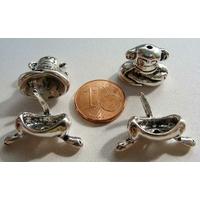 Perles Métal argenté vieilli Coupelles SINGE 2 ensembles de 2 pcs