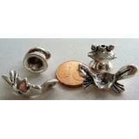 Perles Métal argenté vieilli Coupelles GRENOUILLE 2 ensembles de 2 pcs