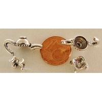 Perles Métal argenté vieilli Coupelles THEIERE 4 ensembles de 2 pcs