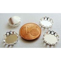 Perles Métal argenté clair SUPPORT Cabochon simple ROND 10mm par 10 pcs