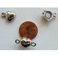 Fermoirs COEUR magnétique argenté lisse par 2 pcs