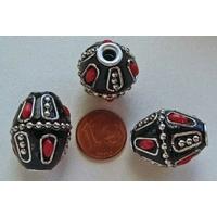 Perles Indonésiennes Bicone fond noir, incrustations argenté et rouge par 2 pcs