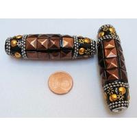 Perles Indonésiennes Grand Tube fond noir avec incrustations argenté doré et marron par 1 pc