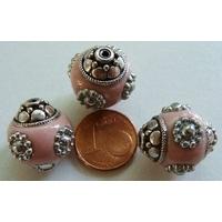 Perles Indonésiennes Ronde fond ROSE avec incrustations argentées par 2 pcs