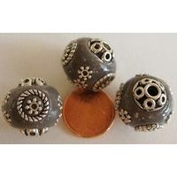 Perles Indonésiennes Ronde fond GRIS avec incrustations argentées par 2 pcs
