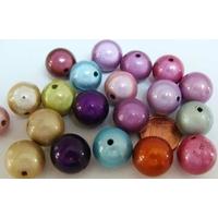 Perles Acrylique Rondes 14mm nacrées miracle MIX couleurs par 20 pcs