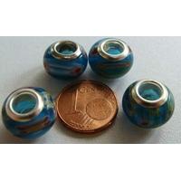 Perles verre 13mm Bleu millefiori fleur Blanc rouge par 4 pcs