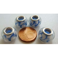 Perles verre 13mm Bleu Fonce Blanc par 4 pcs