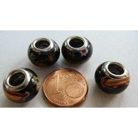 Perles verre 13mm Noir millefiori fleur multi par 4 pcs