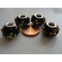 Perles verre 13mm Noir picot Fleurs par 4 pcs
