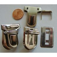 Fermoir Fermeture Cartable / clic 33x25mm métal couleur Argentée Acier par 1 pc