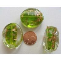 Perles verre Galets 30x25x10mm Touches dorées VERT par 2 pcs