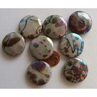 Perles Acrylique Galets 25mm Motifs abstraits noir Marron par 8 pcs