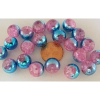 Perles verre Craquelé ronds 10mm ROSE METALLISE BLEU par 20 pcs