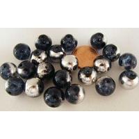 Perles verre Craquelé ronds 10mm GRIS BLEU ARDOISE METALLISE ARGENTE par 20 pcs