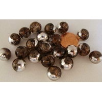 Perles verre Craquelé ronds 10mm MARRON METALLISE ARGENTE par 20 pcs