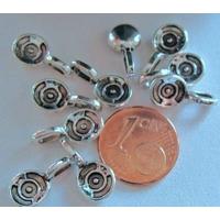 Perles Métal argenté vieilli BELIERE arrondies 15mm par 10 pcs