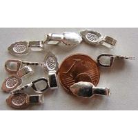 Perles Métal argenté clair BELIERE FEUILLE à coller 15mm par 10 pcs