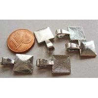 Perles Métal argenté vieilli BELIERE CARRE à coller 18mm par 5 pcs