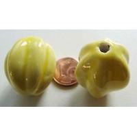 Grande Perle PORCELAINE JAUNE par  1 pc