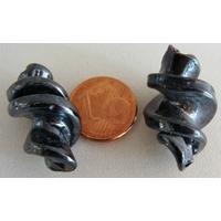 Perles VIS verre Lampwork 28x17mm NOIR HEMATITE par 2 pcs