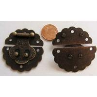 Fermoir Fermeture (2 pièces) rabat rond 40mm métal couleur Bronze par 1 pc